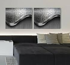 leinwand bild set bis 200x75x5 schwarz silber metall