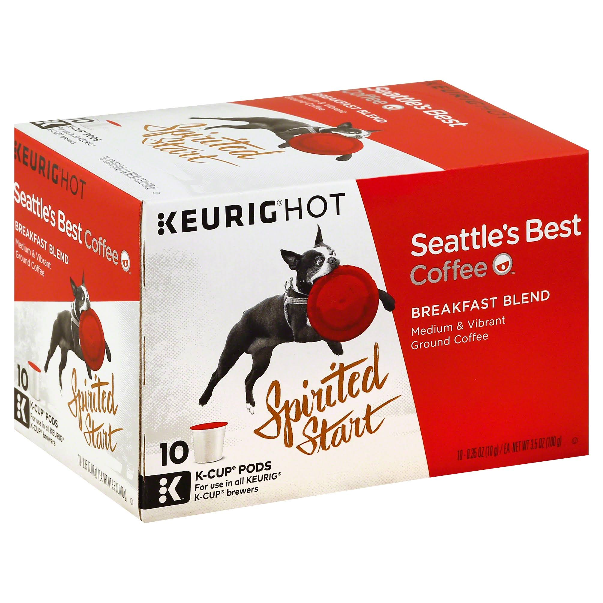 Seattle's Best K Cup Pods Ground Coffee - Breakfast Blend, Medium, 10ct
