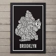 BROOKLYN New York Nachbarschaft Typografie Stadt Karte Drucken Etsy