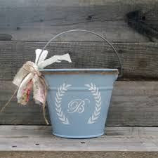 Rustic Flower Girl Pail Personalized Wedding Decor