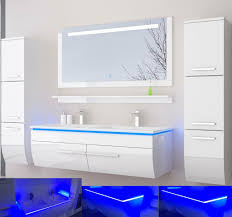 doppelwaschtisch 120 weiß hochglanz 120 doppelwaschbecken badmöbel set bad led system fertig montiert lackiert
