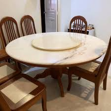 Good Condition Round Marble Dinning Table With 6 Chairs ...