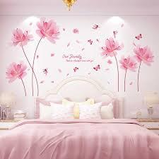 shijuekongjian rosa farbe blumen wand aufkleber diy anlage