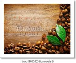 Art Print Of Coffee Bean Border On Wood