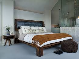 leirvik bed frame leirvik bed frame for a contemporary bedroom with a glass wall and