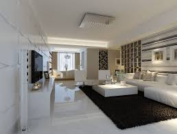 Modern White Marble Flooring For Living Room With Black Carpet And Sofa Sets