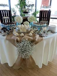 Milton Rustic Chic Dessert Table With Burlap Linens Babys Breath Crates And Vintage Cake Platters