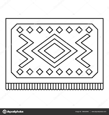 Turkish Carpet With Geometric Pattern Icon Stock Vector