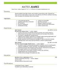 Teacher Education Emphasis Sample Resume Example