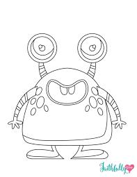 Cute Halloween Monster Free Printable Coloring Sheet