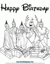 Disneys Frozen Cast Happy Birthday Wishes Coloring Page