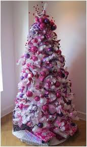 White Christmas Tree With Pink Decorations 6