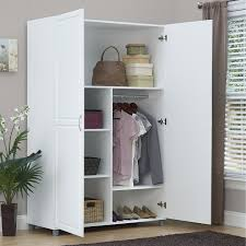 Appealing White Freestanding Closet Design With Two Side Leaf Door ... Mudroom Cabinets For Sale Coat And Shoe Storage Ikea Simple Solid Wood Armoire 2 Sliding Doors Hang Rods 4 Roomy The Mirrored Hammacher Schlemmer 25 Organizer Ideas Hgtv 20 That Are Both Functional Stylish Cupboard For Hallway Armoire Shoe Storage Bedroom Organizers Martha Stewart Stunning Wardrobe Closet Unfinished Roselawnlutheran Fniture Wardrobe Cedar Emerald Estate Shoe Armoire Guildmaster Art Deco Vanity Two Night And A Cabinet