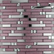 purple glass mosaic tile backsplash silver stainless steel