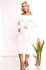 ivory long sleeve off shoulder dress sweaters for women
