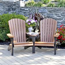 amish poly wood fan back adirondack settee leisure lawns