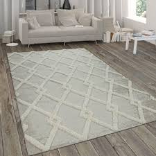 outdoor teppich shaggy muster rauten design beige