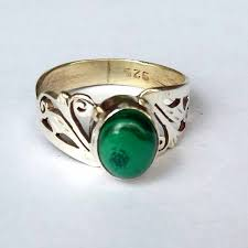 Silver Product Sterling Silver Ring Malachite Stone USD 10
