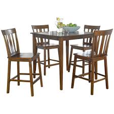100 Cherry Table And 4 Chairs 5pc Dining Set Counter Height Contemporary Square