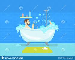 karikatur mann in der badezimmer badewanne mit schaum
