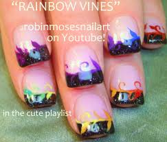Easy Nail Art For Short Nails - DIY Rainbow Vine Tips Designs ... Nail Designs Art For Short Nails At Home The Top At And More Arts Cool To Do Funny Design 2017 Red Beginners Without Polish Ideas Easy Nail Art Designs For Short Nails 3 Design Ideas How You Can Do It Home Easter In Perfect Image Simple Fantastic Easy S Photo Plain