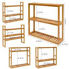 wandregal 54x60x15cm bambus bad regal 3 fächer real de