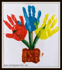 Spring Flowers Hand Print Art Activity For Preschoolers From Homeschooling Mom 4 Two