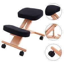 wooden ergonomic kneeling posture office chair grey walmart com