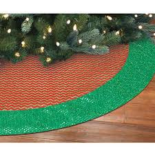 Holiday Time Christmas Decor 48 Canvas Tree Skirt With Glittered Chevron Pattern Red