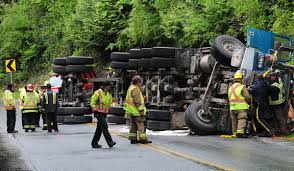100 Logging Truck Accident Man Airlifted To Hospital After Logging Truck Rolls In Shirley