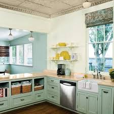 Aqua Cabinets Liven Up This Kitchen Pic Via My Sweet Savannah
