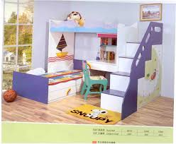 purple white wooden loft bed having white wooden desk ad stair