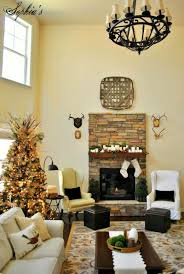 Decorations Rustic Natural Stone Fireplace Decoration Feature Candle And Green Garland Mantel Decor