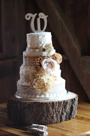 4 Layer Wedding Cake With Burlap And Lace
