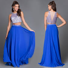 dave and johnny royal blue two piece formal dress prom 2016 top