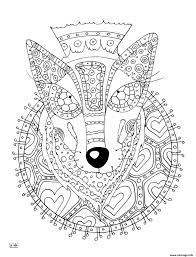 Coloriage Wolf With Tribal Pattern Adulte JeColoriecom