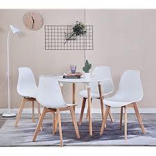 zmall 4er set esszimmerstühle mdf rund esstisch buche holzbeine eckstühle esszimmer möbel für küche lounge wohnzimmer restaurant balkon