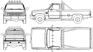 1986 Chevrolet Silverado Pickup Truck Blueprints Free - Outlines