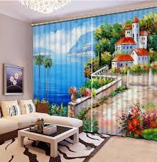 ölgemälde 3d gardinen meer landschaft vorhänge für wohnzimmer schlafzimmer dekoration fenster vorhänge