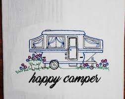 Vintage Camper Decor Happy Pop Up Kitchen Towel Sweet