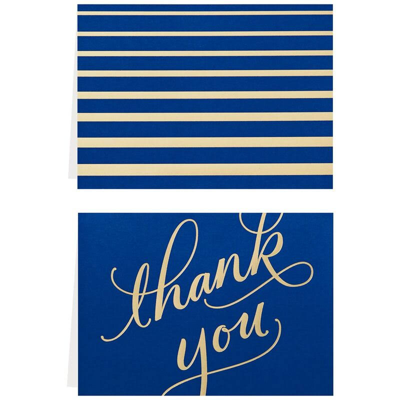 Classic Navy and Gold Thank You Notes, Box of 40