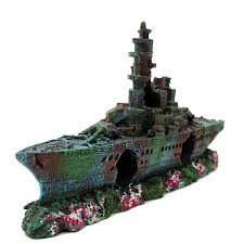 new resin aquarium wreck boat decoration navy war liberty