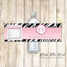 30 Stickers Pink Black Zebra Baby Shower Bottle Labels Personalized