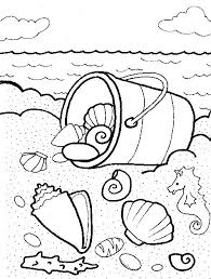 Beach And Sea Shell Coloring Pages