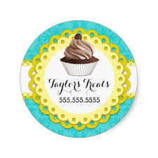 Mocha Cupcake Bakery Box Seals With Turquoise Damask Background And Yellow Scallop Banner For Your Business Information Customize Own