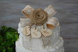 Complement A Barn Wedding With This Burlap And Lace Rose Cake Topper Little Wooden Hearts That Can Be Personalized The First Names Of Happy