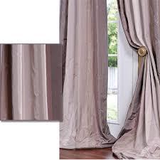 Plum Light Violet Striped Faux Silk Taffeta 96 inch Curtain Panel