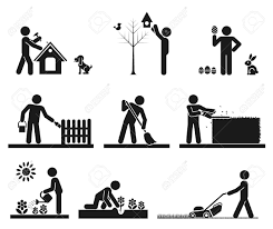Pictograms representing people doing different backyard work Stock Vector