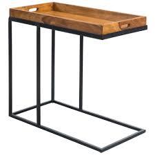 finebuy beistelltisch fb51465 beistelltisch 69 x 65 x 34 cm sheesham massiv holz metallgestell design tv tray tabletttisch wohnzimmer kleiner