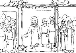 Jesus Heals Paralytic Coloring Page
